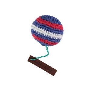 Knitted Ball Dog Squeaky Toy Navy/Red