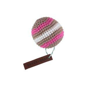 Knitted Ball Dog Squeaky Toy Brown/Pink