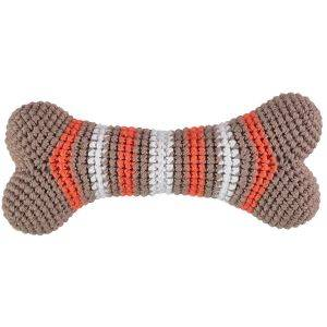 Knitted Bone Dog Squeaky Toy Brown/Orange