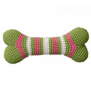Knitted Bone Dog Squeaky Toy Green/Pink
