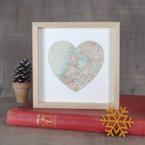 Personalised Map Location Heart Print 28cm