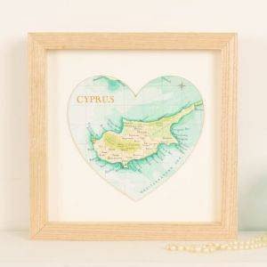 Personalised Map Location Heart Print 21cm