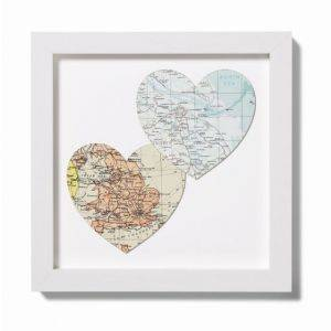Two Personalised Map Location Hearts Print