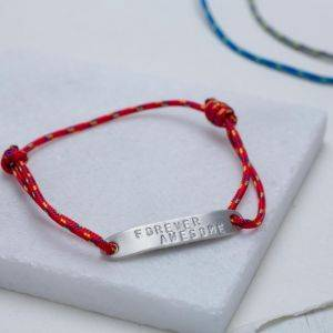 Mens ID Bar Rope Bracelet