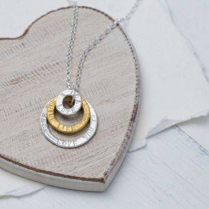 Sterling Silver Triple Halo Necklace