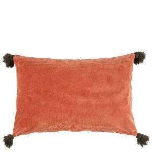 Deep Burnt Orange Velvet Tassel Cushion