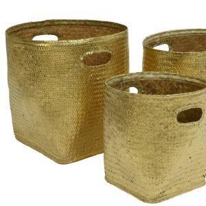 Gold Seagrass Storage Baskets