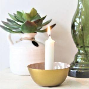 Grey And Gold Nara Candlestick Holder