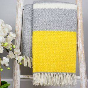 Grey And Mustard Wool Knit Throw