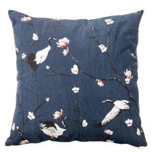 Royal Blue Velvet Cushion With Japandi Design