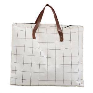 Cream Check Fabric Storage Bag