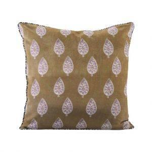 Ochre Paisley Print Cushion