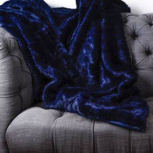 Midnight Faux Fur Throw