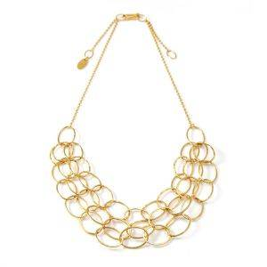 3 Line Gold Vermeil Cascade Necklace