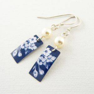 Denim Rectangle And Pearl Earrings