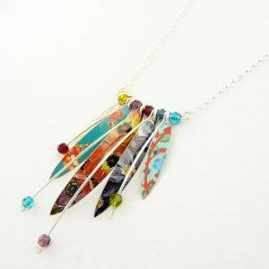 Long Wire & Five Leaves Necklace