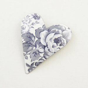 Large Heart Grey Roses Brooch