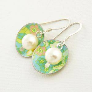 Disc & Pearl Earrings