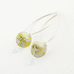 Disc Crystal Earrings (Medium Earwire)
