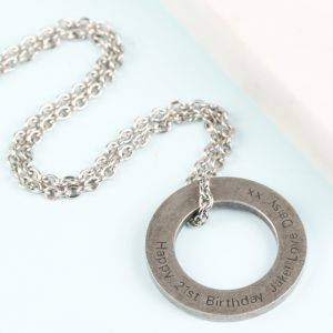 Personalised Mens Stainless Steel Circle Necklace