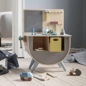 Sebra Warm Grey Wooden Tool Bench With Tool Kit