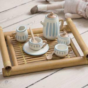White/Dusty Teal Wooden Tea Set