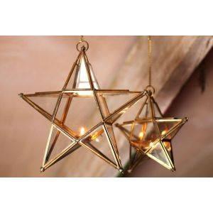 Antique Brass Glass Star