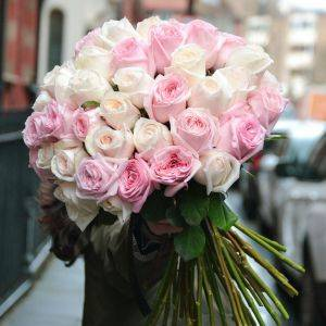 Pale Pink and White Roses Bouquet