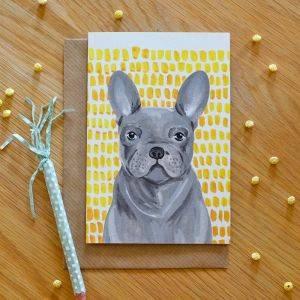 Grey French Bulldog Card