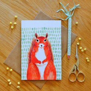 Illustrated Red Squirrel Card