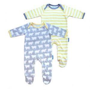 Organic Cotton Dino Sheep Sleepsuit Set