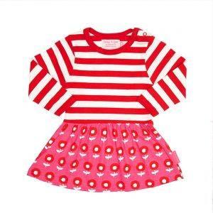 Dot Flower Red Pink Twirl Dress