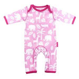 Organic Cotton Pink Jungle Sleepsuit
