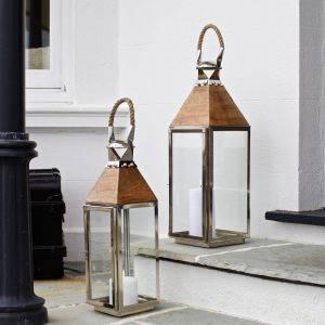 Stainless Steel Wood Lantern Topsham