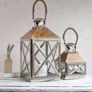 Stainless Steel Mango Wood Lantern Dartmoor